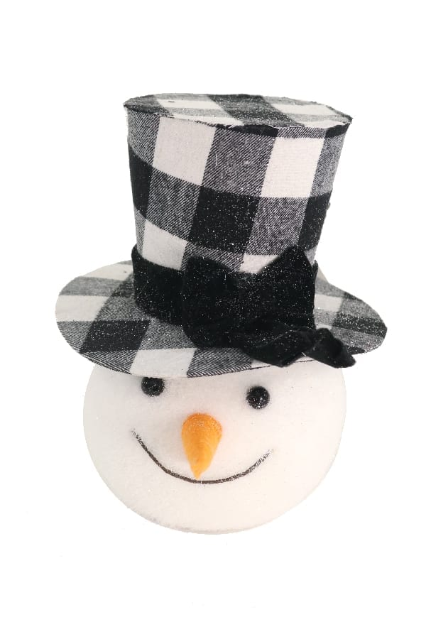 Snowman Head with Black Hat