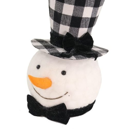 Snowman with black hat and bow tie