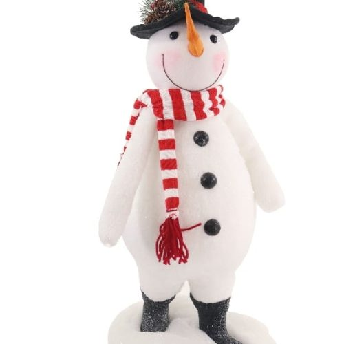 Standing Snowman with Red Scarf