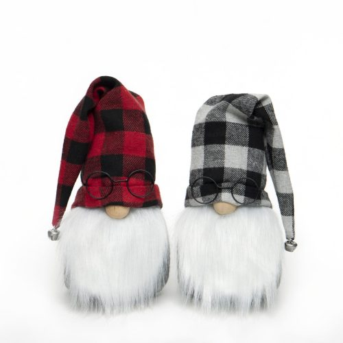 GNOME WITH GLASSES, BUFFALO PLAID HAT