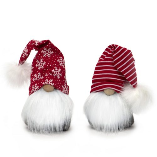 RED/WHITE CHRISTMAS GNOME WITH WHITE FUR POM