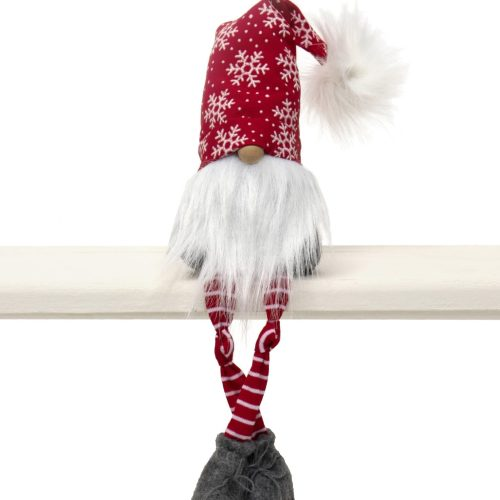 RED/WHITE XMAS GNOME WITH SNOWFLAKE HAT