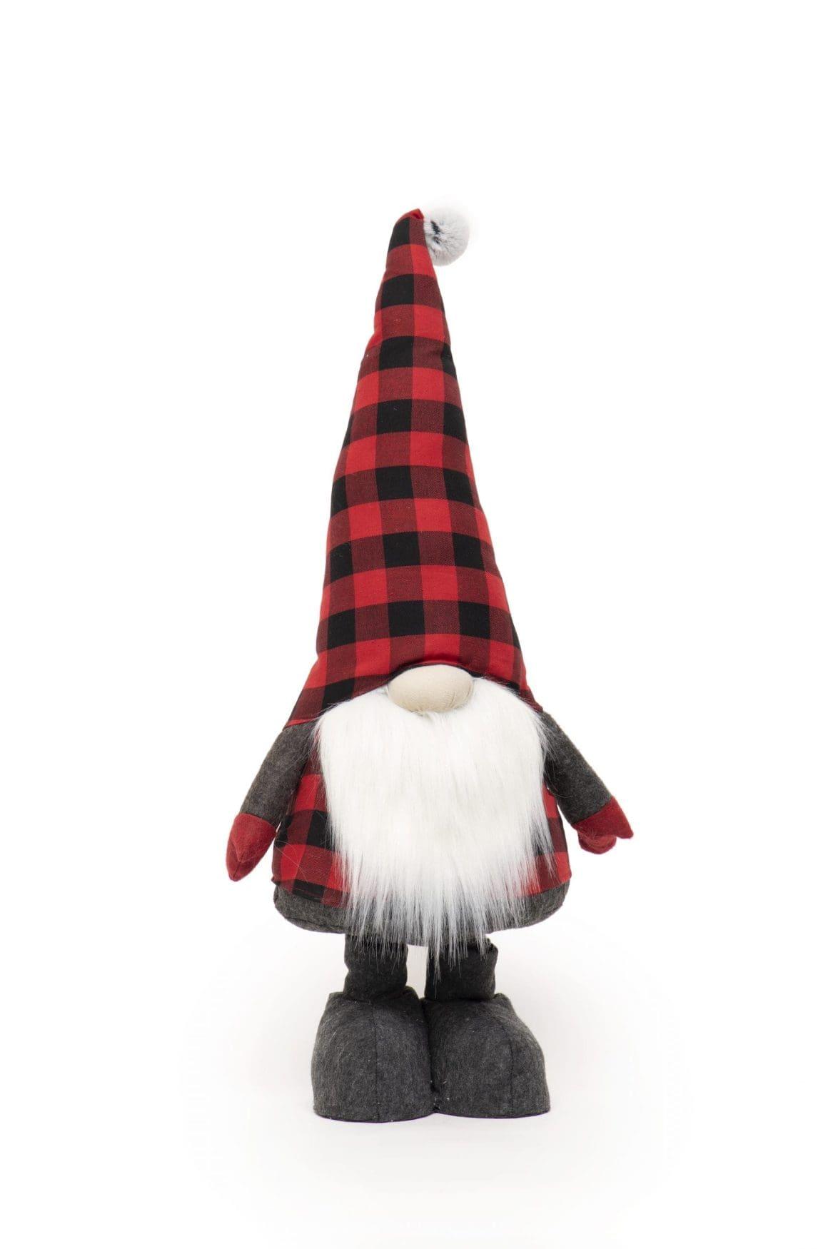 RED/BLACK BUFFALO PLAID EXPANDABLE GNOME WITH FUR POM & WHITE BEARD