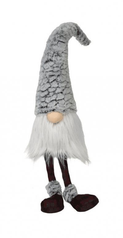 MEDIUM DANGLE LEG PLUSH FUR GNOME W/FLUFFY HAT
