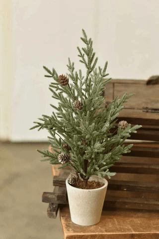 Vintaged Crisp Cedar & Cone Tree