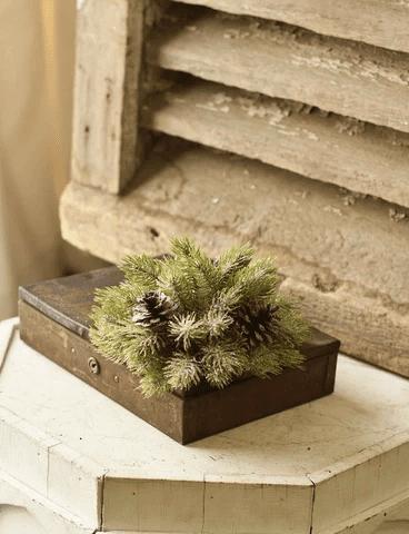 Vintaged Icy Aspen Pine Half Sphere
