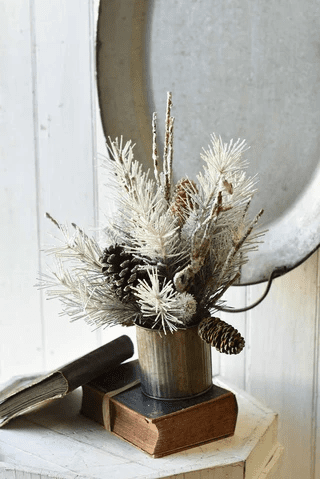 Vintaged Potted Cosmos Pine Centerpiece