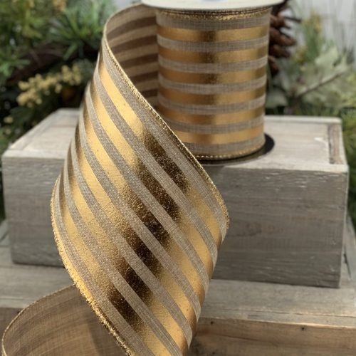 Linen Metallic Gold Stripes