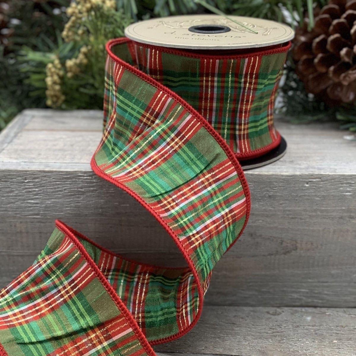 Metallic Merry Plaid Ribbon