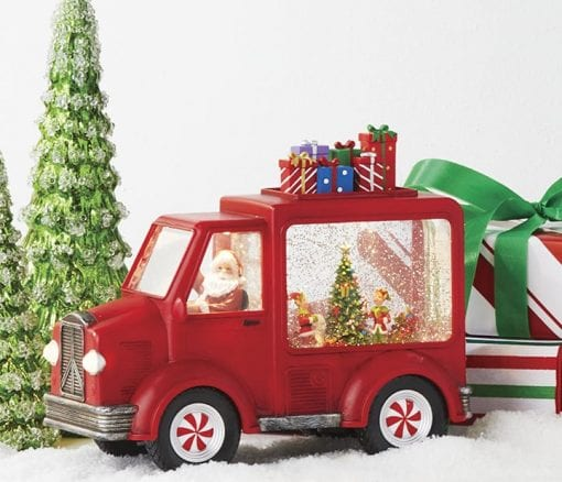 """10.25"""" SANTA AND ELVES LIGHTED WATER TRUCK"""