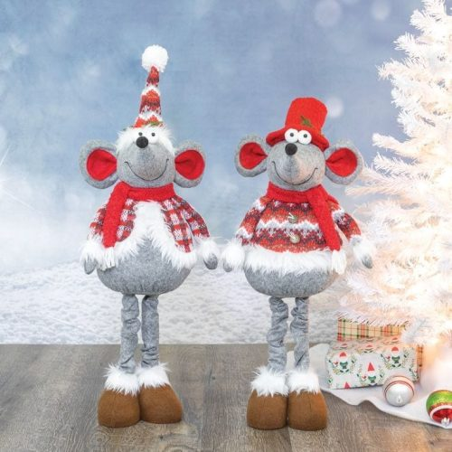 CHRISTMAS MICE WITH EXPANDABLE LEGS - SET 2
